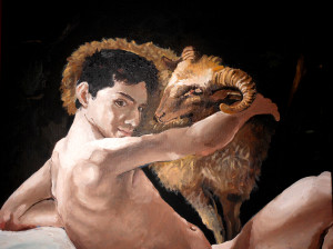 Brendon as Saint John, Caravaggio, or Youth With Ram, oil on 16 by 20 inch canvas custom reproduction