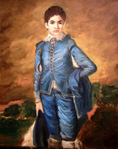 Brendon as the Blue Boy, Thomas Gainsborough, 16x20 inch oil on canvas reproduction