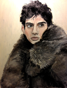 Brendon in Fur, oil on canvas 16 x 20 oil portrait, fur blanket