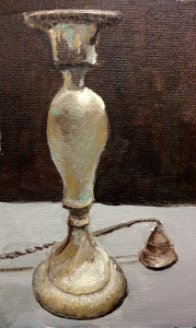 Candle and Snuffer, copper and pewter miniature still life, oil on canvas sheet