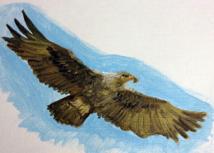 Oil painting of golden eagle, canvas sheet