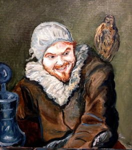 A friend as Frans Hals Malle Babbe, 8 x 10 inch oil on canvas board