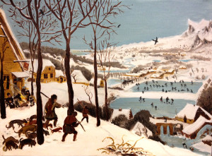 Pieter Breugel, Hunters in the Snow, 12 x 16 oil on canvas