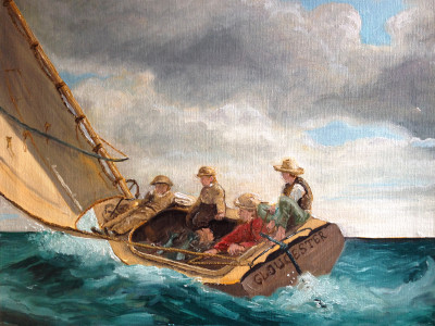 Winslow Homer oil painting reproduction, 16 x 20 inches oil on canvas.