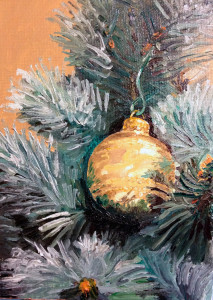 Christmas tree ornament still life, 5 x 7 inch oil on canvas