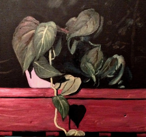 Plant on deck hand rail at night, oil on 9 by 12 inch canvas