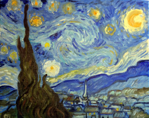 Starry Night in one hour, 8 x 10 oil painting reproduction